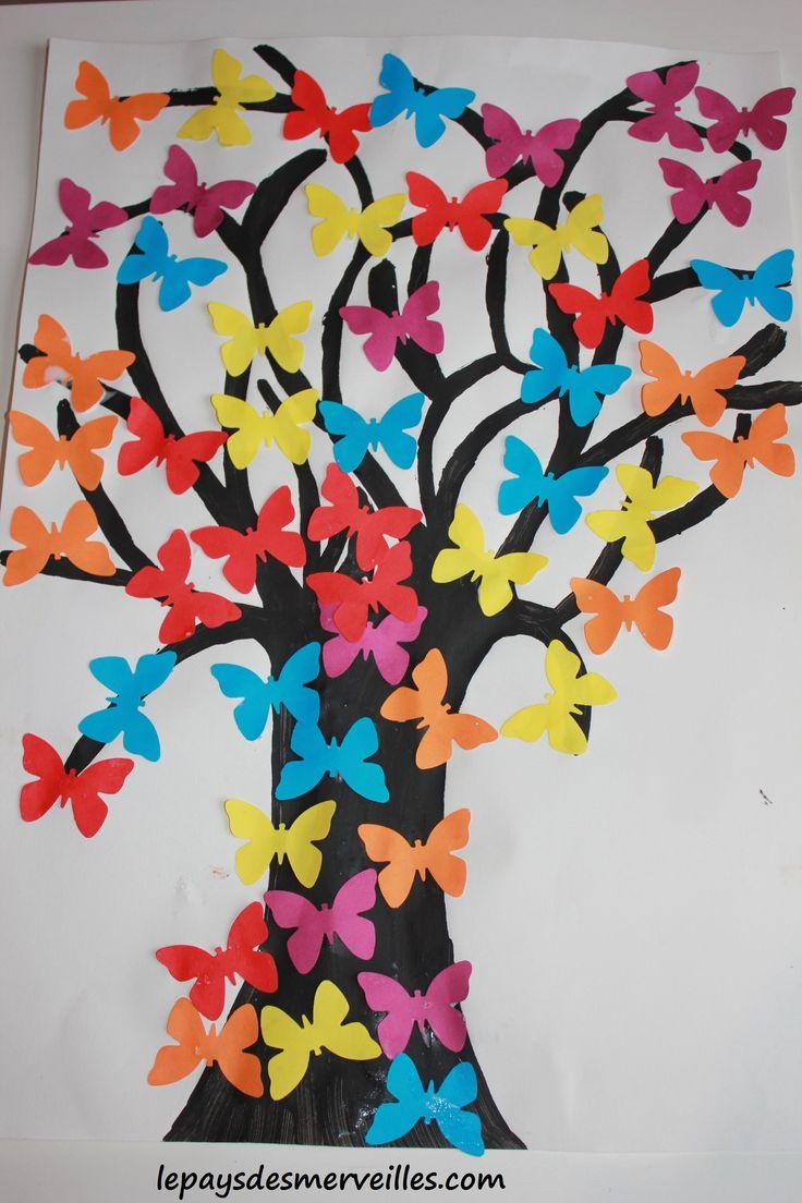 arbre papillons collage nos activit s le pays des merveilles pinterest papillons et. Black Bedroom Furniture Sets. Home Design Ideas