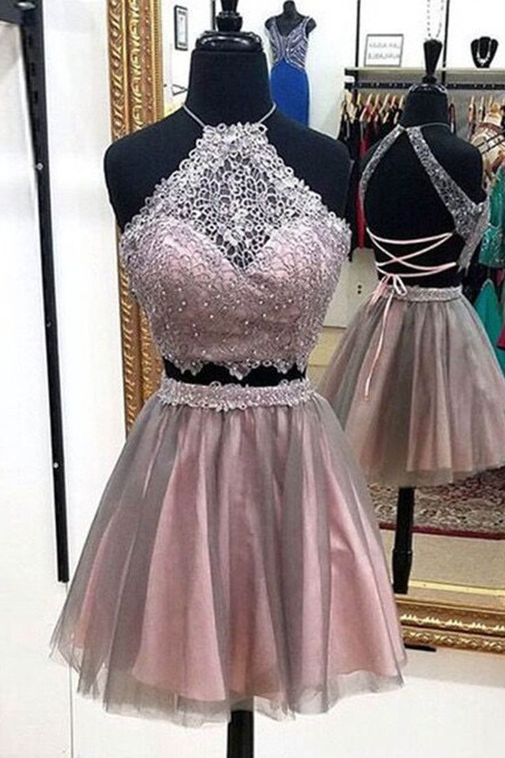 Two piece dress, homecoming dress, cute halter prom dress for teen