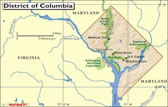 The District of Columbia was originally a big diamond carved out of Maryland and Virginia (later, the Virginia portion was returned to Virgi...