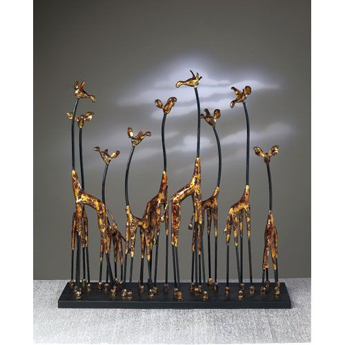 Bronze Giraffe Family Sculpture Dessau Home Indoor Statuary Statues Home Decor