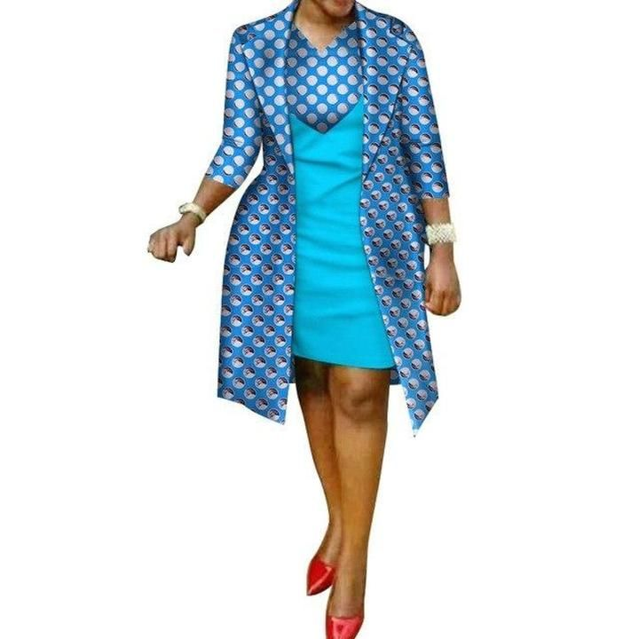 African cotton wax Print Dress and Suit Coat for X11082