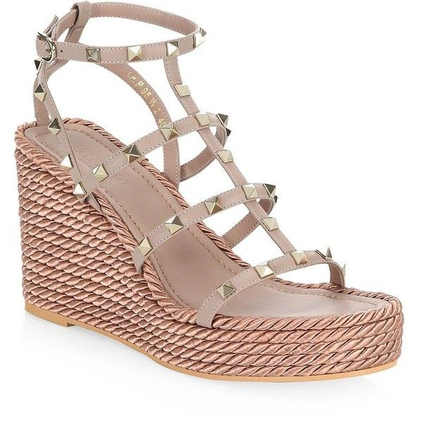 3ef2c165bf09 Valentino Garavani Rockstud Leather Wedge Sandals (41