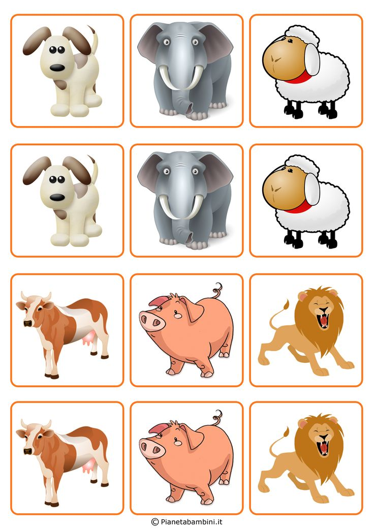 Fino a 72 carte del gioco Memory per bambini con simpatici animali da stampare (PDF) e ritagliare gratis per divertirsi e allenare la memoria