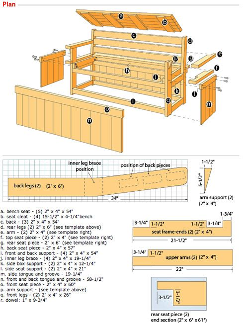 Garden Storage Bench Plans - Downloadable Free Plans