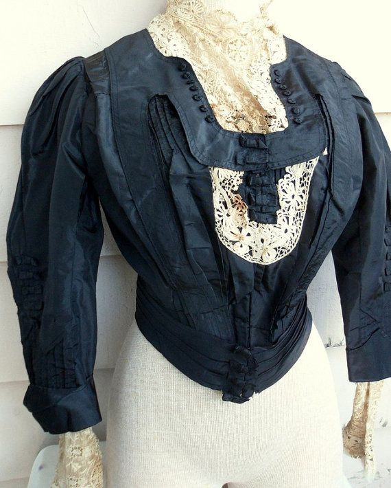 Ornate Victorian Silk Bodice with Lace Underlay  by Lachellybelly