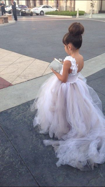 Flower Girl Dress - Tutu Dress - Girls Lace Dress - Big Bow Dress -  Wedding Dress by Isabella Couture