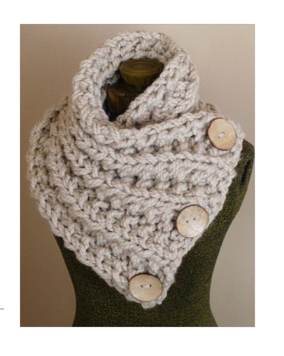 THE LANCASTER SCARF, Chunky Hand Knit Scarf in Neutral Tan with Three Large Functional Buttons, Chunky Knit Cowl, Chunky Button Neck Warmer on Etsy, $58.00