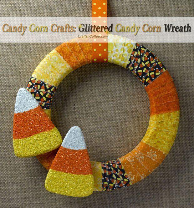 Cute Halloween wreath! Love the sparkling, glittered candy corn, too. DIY on CraftsnCoffee.com.