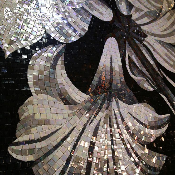 Cheap decorative tile mosaic, Buy Quality decorative vinyl tiles directly from China decorative tile painting Suppliers:  Bisazza black white lily Flower Glimmer Glass Mural Art mosaic tile bathroom kitchen backsplash entrance wall tile Decoration