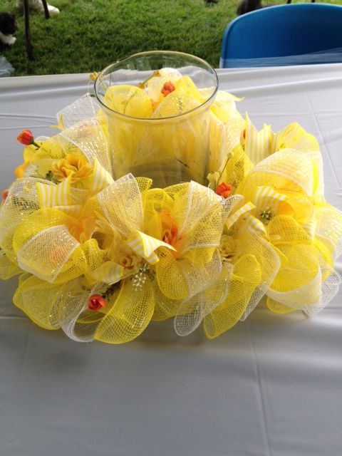 Deco mesh and ribbon centerpiece with candle