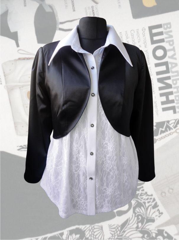 39$ Нарядное болеро для полных девушек и женщин из атласа фото с блузкой Артикул 383, р50-64 Болеро из ткани большие размеры  Болеро летнее большие размеры