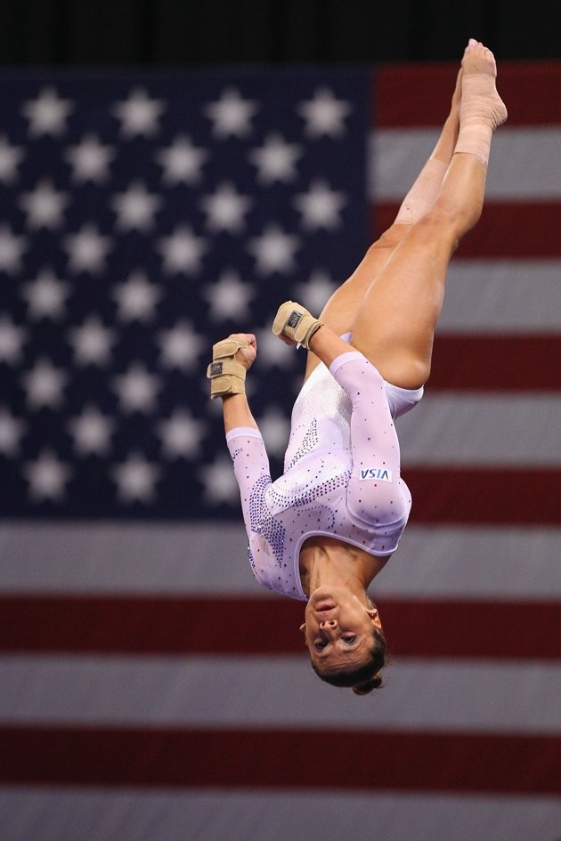 Alicia Sacramone vaults during the final night of the 2012 Visa Championships, the qualifier for the USA Gymnastics Olympic Trials.  Sacramone won the vault event title.