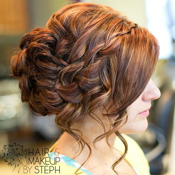 Waterfall braid side updo. #hairandmakeupbysteph #braid #pretty #Padgram