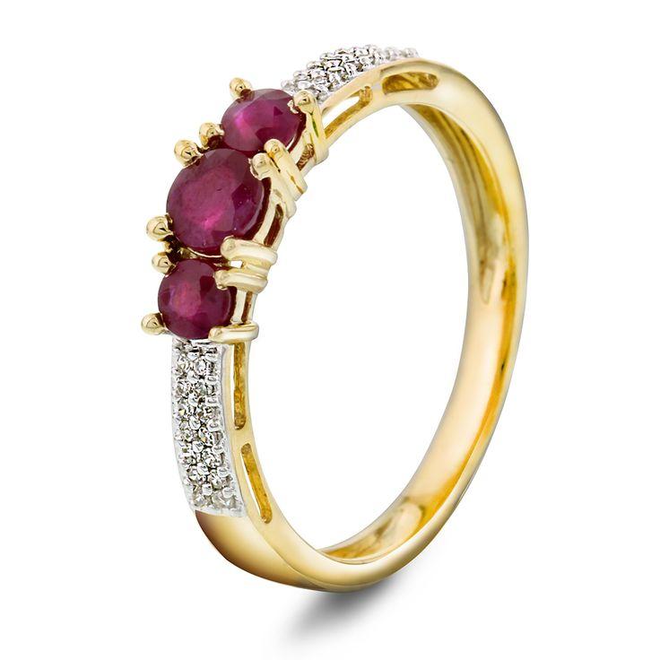 Ring i gull med diamant 0,07ct WSI og rubin hvitt gull - Gullfunn