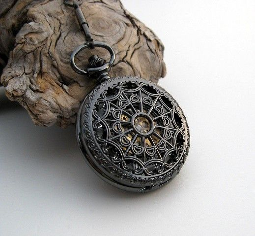 1882's Archaize Black Mechanical Pocket Watch with Pocket Watch Chain - Steampunk - Groomsmen - Best Man - Father of the Bride - Item MPW150