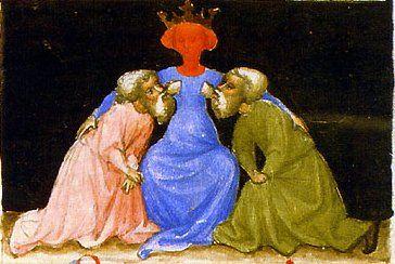 """Acquerello estratto da """"Aurora Consurgens"""" manoscritto miniato del XV secolo di Tommaso d'Aquino."""