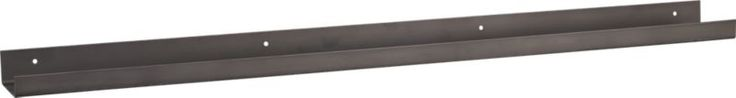 """A thin minimal metal wall shelf in a dark """"gun metal"""" finish- really cool for art work and and other displays"""