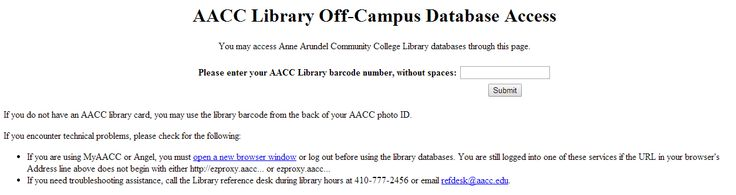 Reading AACC Off Campus Database
