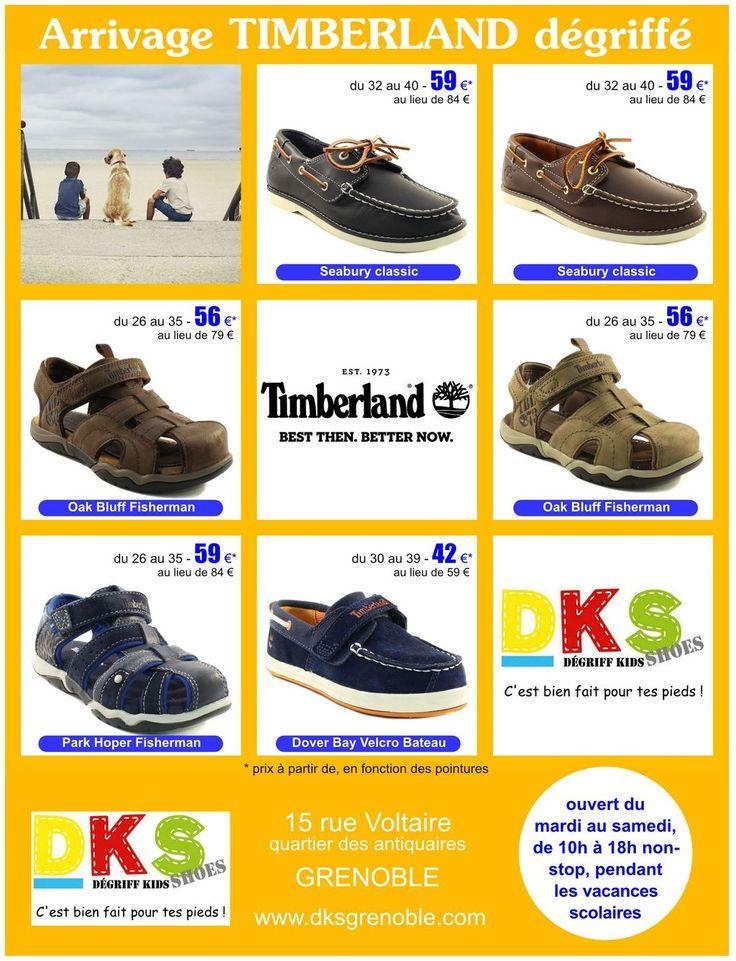 Arrivage de TIMBERLAND été dégriffées à -30% Garçon - du 26 au 40 DKS Degriff Kids Shoes #chaussures dégriffées pour #bébé #enfant et #femme à #grenoble. www.dksgrenoble.com DKS: c'est bien fait pour tes pieds !