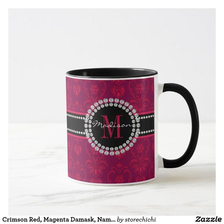 Crimson Red, Magenta Damask, Name and Monogram Mug