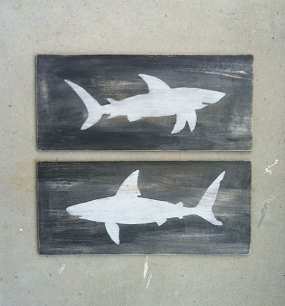 SHARK WOOD SIGNS Nautical Home Decor Beach House by KellyAvenue, $39.99