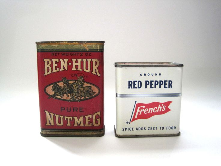 Ben-Hur and French's Spice Tins, Nutmeg, Red Pepper, Vintage Spices, Tea Tin, Candy Tin, Vintage Spice Tin, Antique Spice Tin, Kitchen Decor by SharetheLoveVintage on Etsy