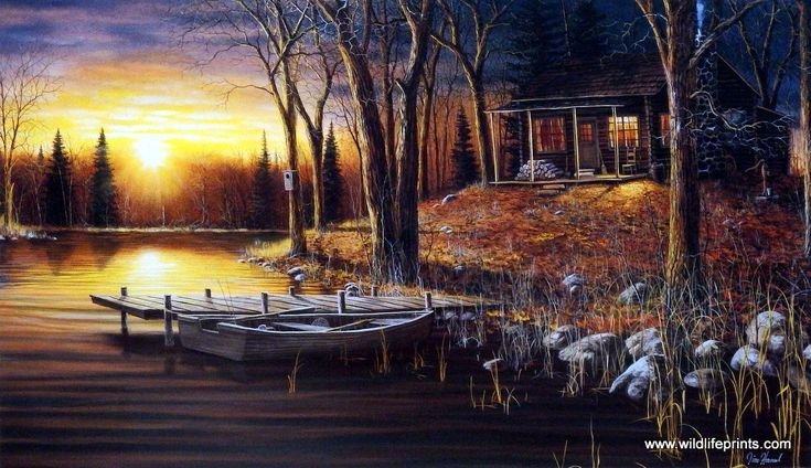 A primitive log cabin is the perfect getaway, complete with a simple rowboat tied up to an old wooden dock. Simple Pleasures comes as an open edition print and is available in three different size opt