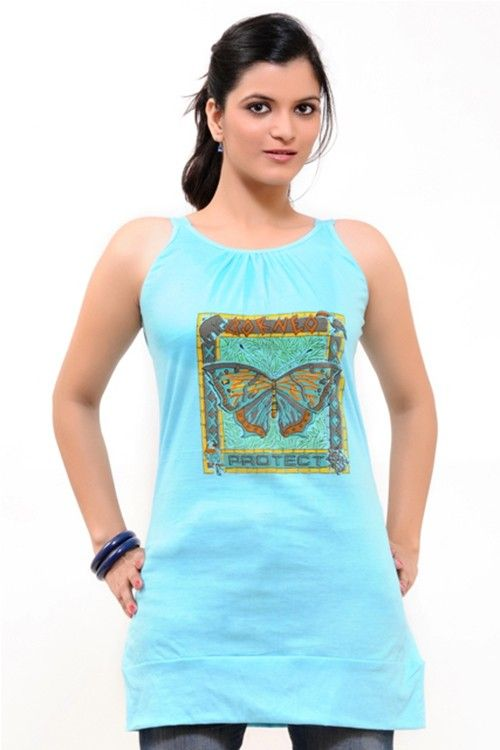 A Charming Sky Blue Long Top