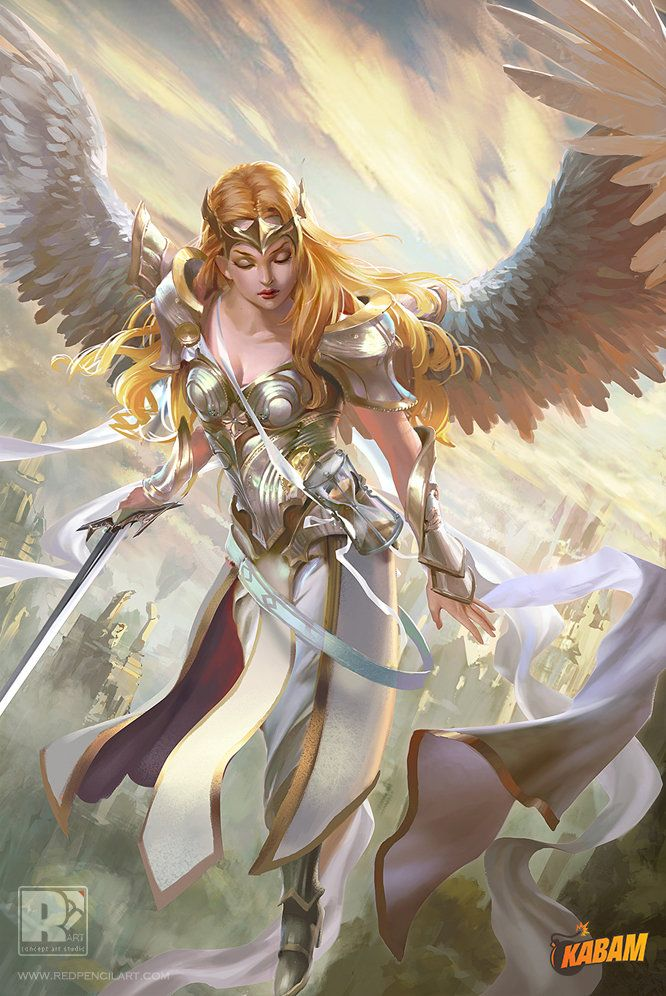 Brunette Female Angel Warrior Art Pictures to Pin on ...