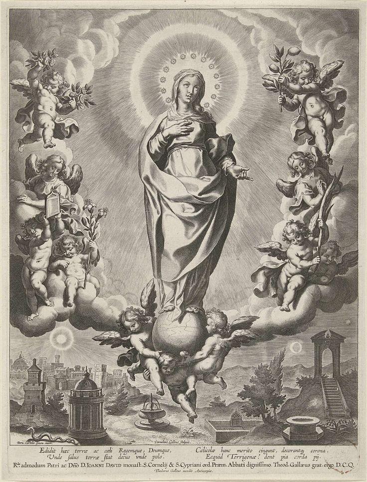 Cornelis Galle (I) | Maria op een globe, omringd door engelen, Cornelis Galle (I), Theodoor Galle, c. 1586 - c. 1633 | Maria staat op een globe die gedragen wordt door engelen. Aan weerszijden engelen die haar attributen dragen: een lelietak en een palmtak, takken met fruit en een boek. In het landschap staan symbolische gebouwen die met Maria in verband gebracht kunnen worden: een fontein, een gesloten tuin, een bron, een trap die naar een poort leidt, een ronde tempel. Op de achtergrond…