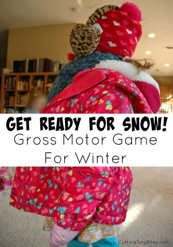 Get Ready for Snow! Gross Motor Relay Game.  Stuck inside during a cold winter?  Play this active, gross motor game to get your toddlers, preschoolers, or older kids moving!
