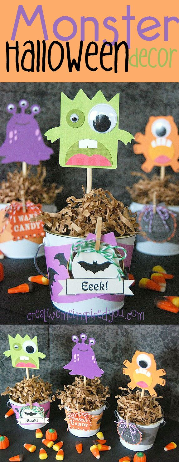 creativemeinspiredyou.com monster decor, monster, cute halloween, not scary, halloween, fun, halloween party, halloween decor, google eyes, wiggle eyes, buckets, green, orange, purple, decor, party decor, decorations, party decorations, sticks, treats, favors, party favors, kids, moms, autumn, fall, school,