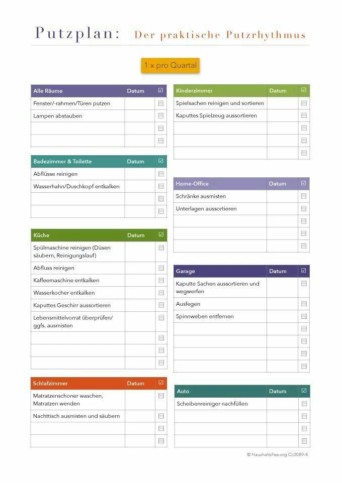putzplan - der praktische putzrhythmus: vierteljährlich (haushaltsfee.org)