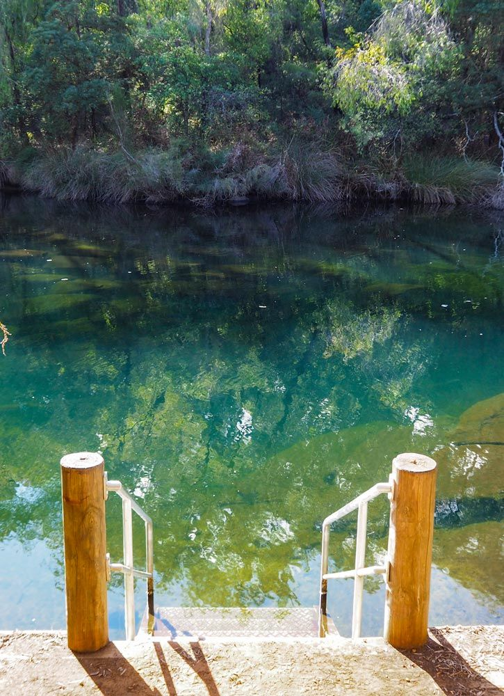 Secret swimming spot on Lennard Drive near Honeymoon Pool campground in the Wellington National Park, Western Australia.