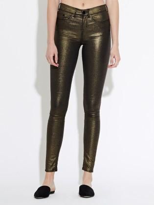 Waven - Womens Freya Skinny Ankle Grazer Metallic Gold Jeans