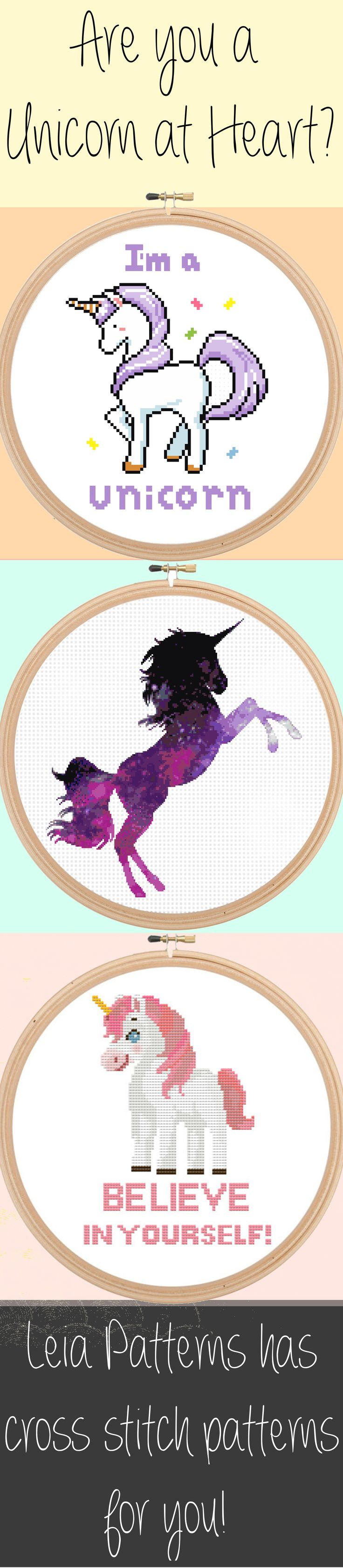 "Leia Patterns Quote Cross Stitch Pattern - I'm a Unicorn - Magical Cute Modern Pattern - PDF - Instant Download ""I'm a Unicorn"" Cross Stitch Pattern  This is a fun cross stitch pattern of a Unicorn! If you feel that you are truly a unicorn at heart than this pattern is perfect for you! This pattern also makes a great gift for all the unicorns in your life :)  Pattern Specifics: ------------------------ Colors: 11 Floss Colors Size: 6.9 x 5.4 in. / 17.5 x 13.7 cm.  Grid Size: 96 x 75  Canvas…"