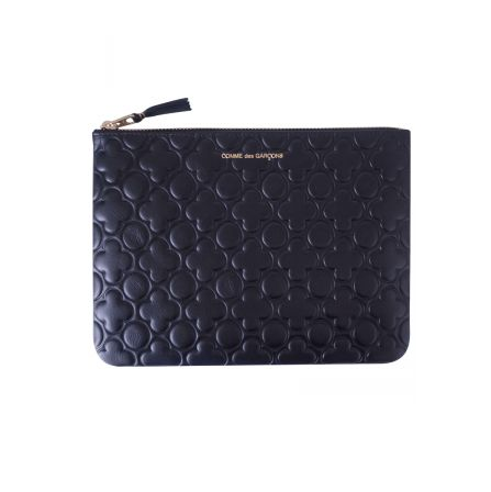 COMME PLAY Embossed Flower Print Leather Pouch Black | Available @parlourx www.parlourx.com.au