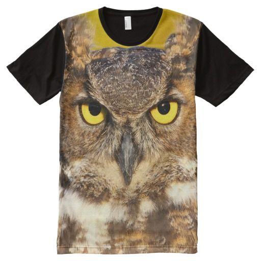 Horned Owl Face All-Over Print T-shirt