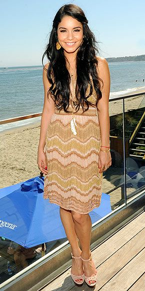 Vanessa Hudgens wearing a feather pendant necklace