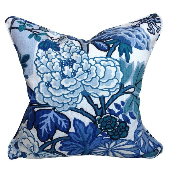Schumacher Chiang Mai Floral Cushion In China Blue