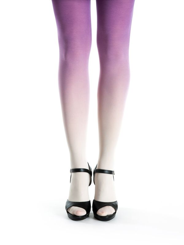 Ivory-purple ombre tights by Virivee! Hand dyed superb quality ombre tights.