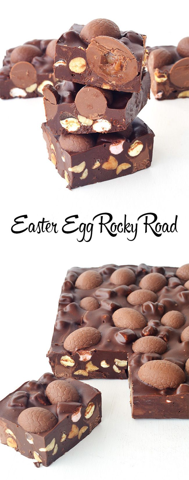 The perfect gift for Easter! Easter Egg Rocky Road with roasted peanuts and mini marshmallows!