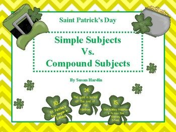 Once students understand how to identify subjects from predicates, the next step is to identify simple from compound.  This activity is meant to help students identify simple subjects from compound subjects.  Two ways to use this:1. Use under the document camera for the whole class or as a small instructional group or partners (Differentiation).