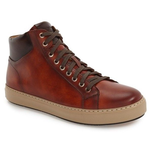 Men's Magnanni 'Marlo' Sneaker (1.125 BRL) ❤ liked on Polyvore featuring men's fashion, men's shoes, men's sneakers, cognac, mens leather high top shoes, mens black leather high top sneakers, mens hi top sneakers, mens high top shoes and mens high tops