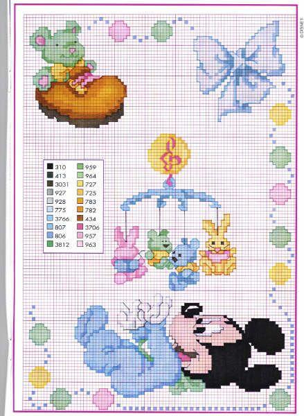 Schema punto croce topolino baby