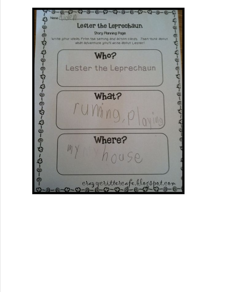 Lester the Leprechaun story planning sheet. Use with story starter cards.