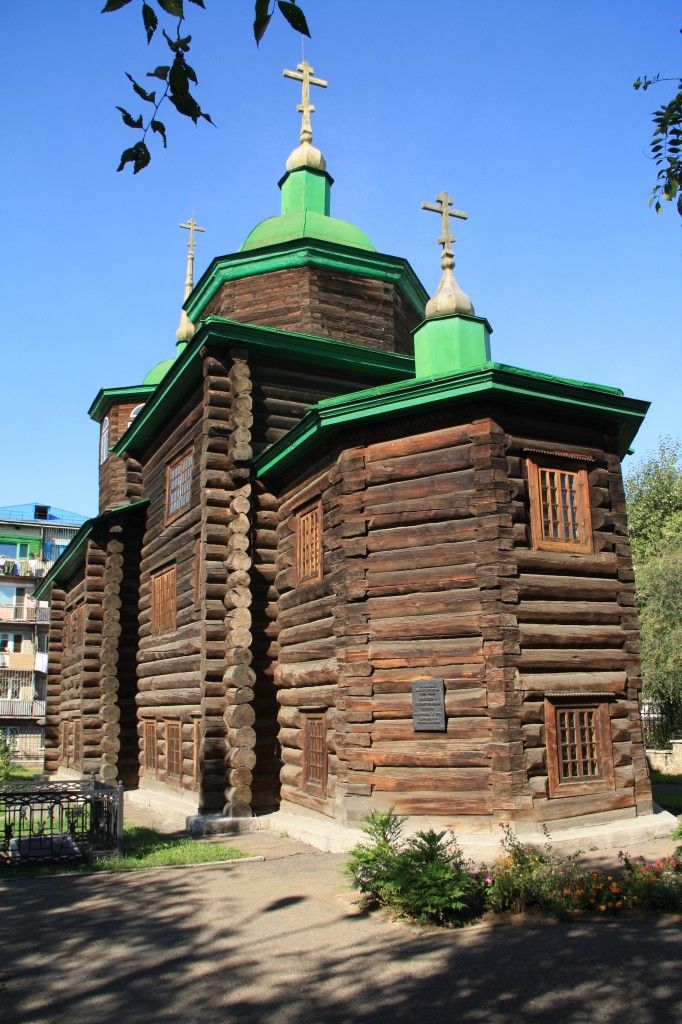 Beautiful log church of St. Michael the Archangel, now the Decembrist Museum, Chita, Russia