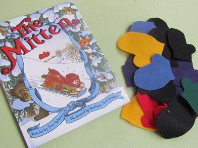"""Mitten Math - you will need: """"The Mitten"""" by Jim Aylesworth and Barbara McClintock, and a BUNCH of felt mittens."""