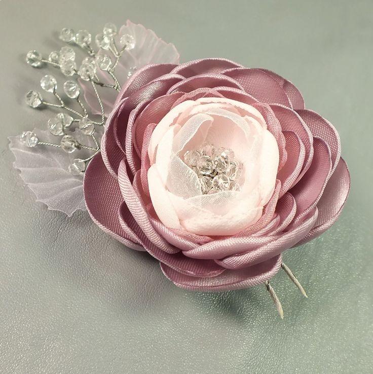 Купить Утро Ледяной Розы. Брошь - цветок ручной работы из ткани - бледно-розовый, цветок