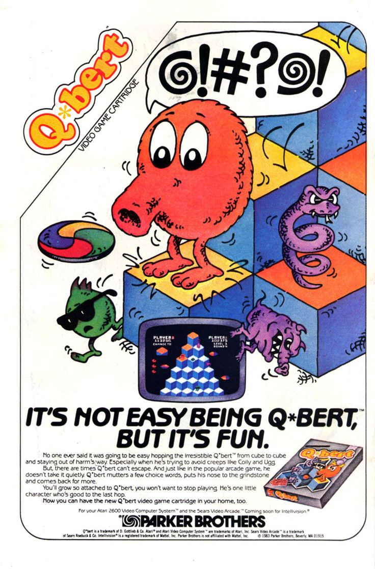 Q-bert was an arcade video game released in 1982. It became very popular and successful. Its purpose was to change the color of all the squares that form a pyramid, avoiding to get killed by the enemies such as the snake Coily, among others. This is the 1983 ad for the home version.
